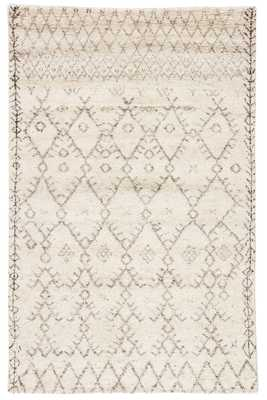 Zola Hand-Knotted Geometric Ivory/ Brown Area Rug (5' X 8') - Collective Weavers
