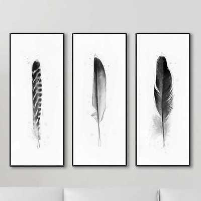 'Feathers' 3 Piece Framed Graphic Art Set - AllModern