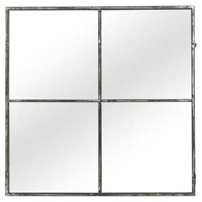 Casper Industrial Loft Grey Metal Border Four Pane Square Wall Mirror - Kathy Kuo Home