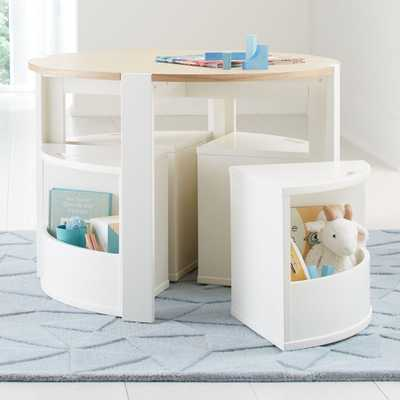 Nesting White Play Table and Chairs - Crate and Barrel