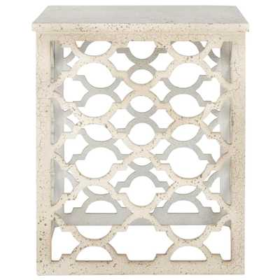 Lonny Distressed White End Table - Home Depot