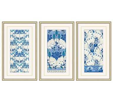 """Nouvea Floral Pattern Framed Print, Set of 3, 15 x 25"""" - Pottery Barn"""