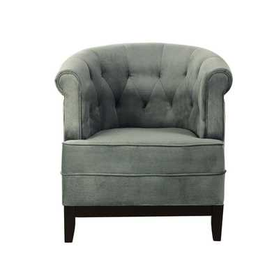 Emma Sea Green Velvet Tufted Arm Chair, Velvet Seagreen - Home Depot