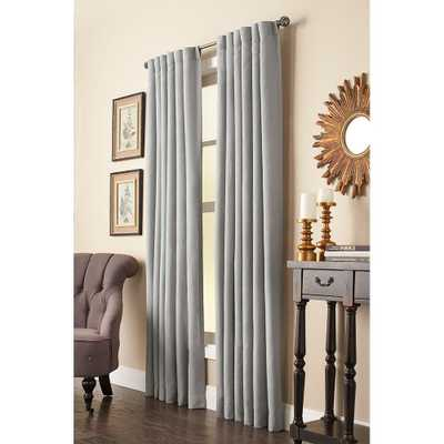 Home Decorators Collection Semi-Opaque Grey Faux Linen Back Tab Curtain - 50 in. W x 95 in. L - Home Depot