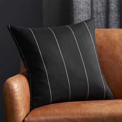 "20"" Pinstripe Black Linen Pillow with Feather-Down Insert - CB2"