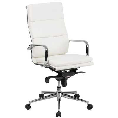 High Back White Leather Executive Swivel Office Chair with Synchro-Tilt Mechanism - Home Depot