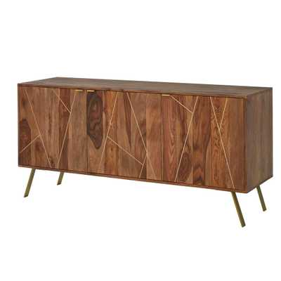 Home Decorators Collection Dark Natural Finish Buffet Table with Gold Metal Inlay - Home Depot