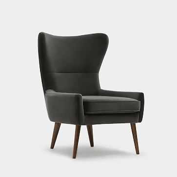 Erik Wing Chair, Velvet, Cement Dark Oak - West Elm