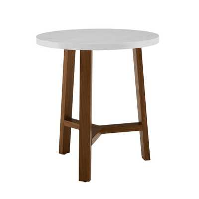 20 Round Side Table White Marble/Acorn - Saracina Home, White Faux Marble/Acorn - Target