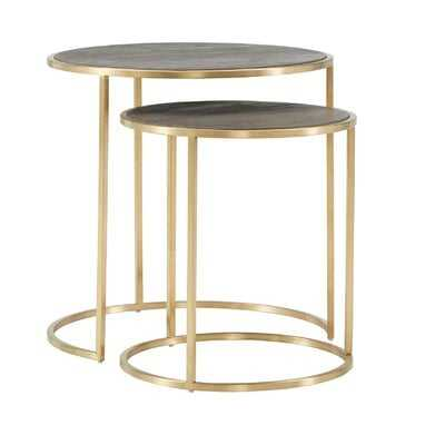 Dupont Antique Gold and Reclaimed Wood Nesting End Table - Wayfair