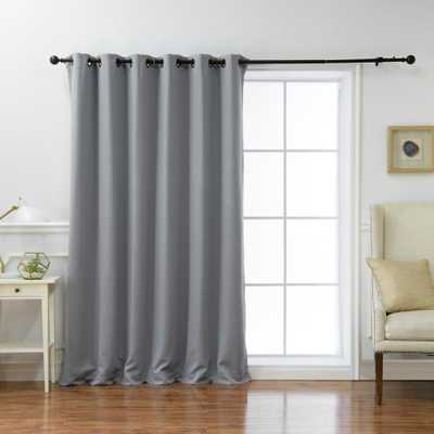 Best Home Fashion Wide Basic 80 in. W x 96 in. L Blackout Curtain in Grey - Home Depot