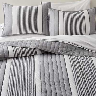 Lauro Full/Queen Grey Striped Quilt - Crate and Barrel