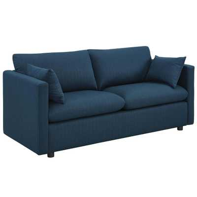 MODWAY Activate Upholstered Fabric Sofa in Azure (Blue) - Home Depot