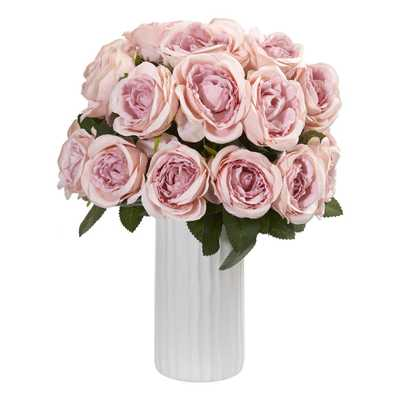 Nearly Natural Indoor Rose Artificial Arrangement in White Vase - Home Depot