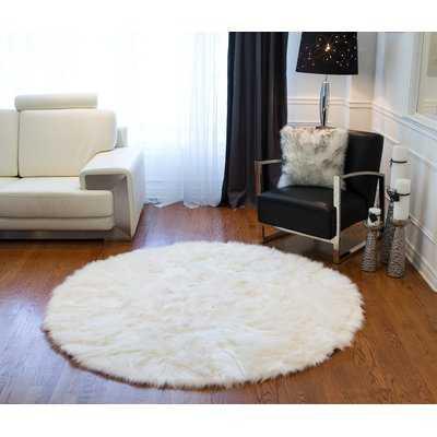 Rossman Faux Fur Off White Area Rug - Wayfair