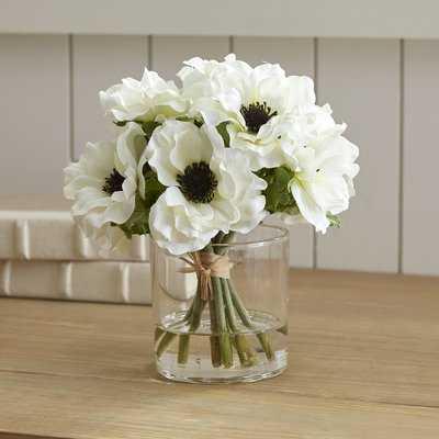 White Anemone Short Bouquet in Glass Vase - Birch Lane
