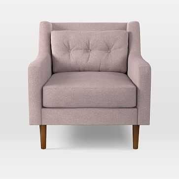 Crosby Armchair, Distressed Velvet, Light Pink, Pecan - West Elm