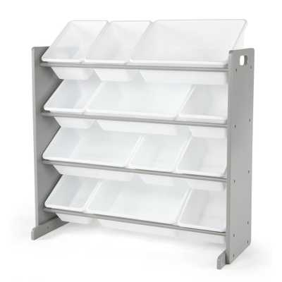 Inspire Collection Grey/White Kids Wood Toy Storage Organizer with 12-Plastic Bins - Home Depot