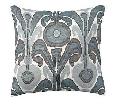 """Kenmare Ikat Embroidered Pillow Cover, 24"""", Blue - Pottery Barn"""