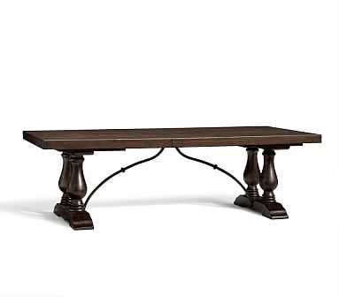 """Lorraine Extending Dining Table, Large 98"""" - 120"""" L, Rustic Brown finish - Pottery Barn"""
