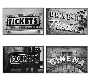 Vintage Movie Framed Prints, Set of 4 - Pottery Barn