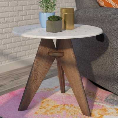 Koury Tall Marble and Wood End Table - AllModern