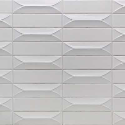 Splashback Tile Vintage Bianco 3D 3 in. x 9 in. 10mm Polished Ceramic Subway Tile (0.78 sq. ft.), White - Home Depot