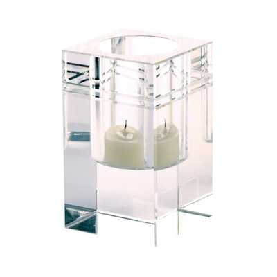Square Crystal Collar 4 in. Clear Crystal Candle Holder - Home Depot