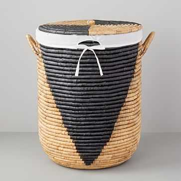 Woven Seagrass Hampers, Natural/Black, Large - West Elm