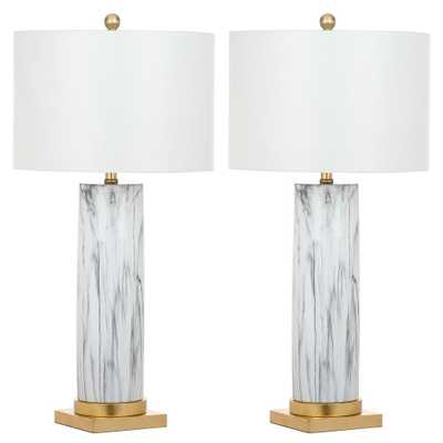 Safavieh Sonia 31.25 Black/White Faux Marble Table Lamp (Set of 2) - Home Depot