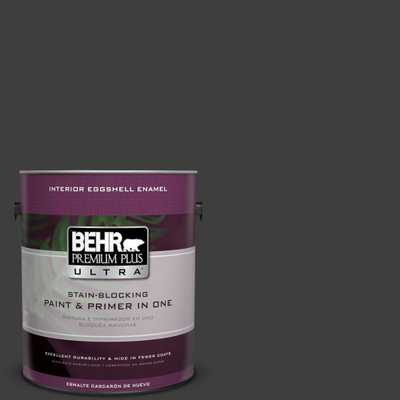 BEHR Premium Plus Ultra 1 gal. #T13-3 Black Lacquer Eggshell Enamel Interior Paint and Primer in One - Home Depot