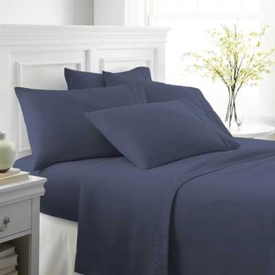 Performance Navy (Blue) King 6-Piece Bed Sheet Set - Home Depot