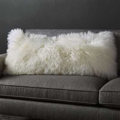 "Pelliccia Ivory Mongolian Sheepskin Lumbar Pillow 36""x16"" - Crate and Barrel"
