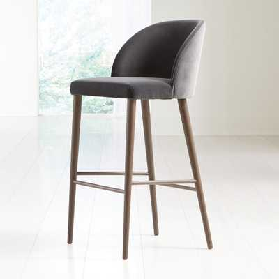 Camille Anthracite Velvet Bar Stool - Crate and Barrel