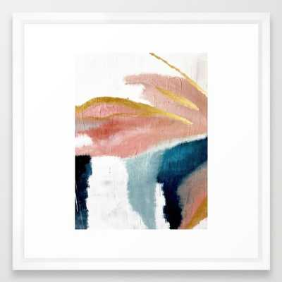 Exhale: a pretty, minimal, acrylic piece in pinks, blues, and gold Framed Art Print by Blushingbrushstudio, vector white 22 X 22 - Society6