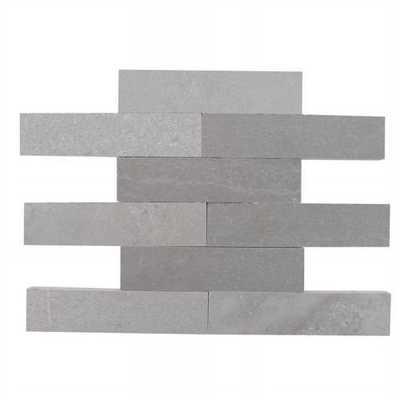 Splashback Tile Brushed Lady Gray Marble Mosaic Tile - 2 in. x 8 in. Tile Sample, Brown/White/Gray - Home Depot