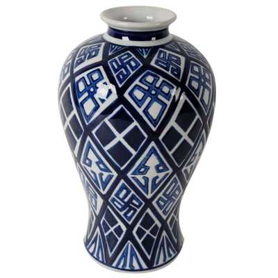 Valora 8 in. x 13 in. Blue and White Decorative Vase, Multi - Home Depot