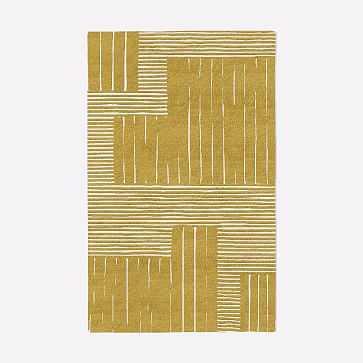 MTO Painted Mixed Stripes Rug, Horseradish, 5x8 - West Elm
