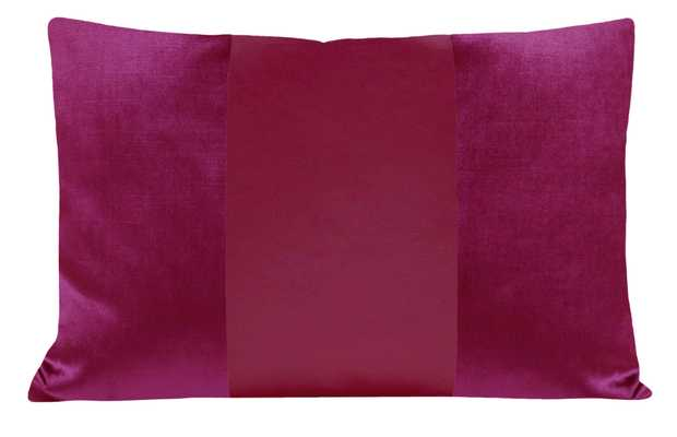 "The Little Lumbar :: MONOCHROMATIC Faux Silk Velvet // Magenta - 12"" X 18"" - Little Design Company"