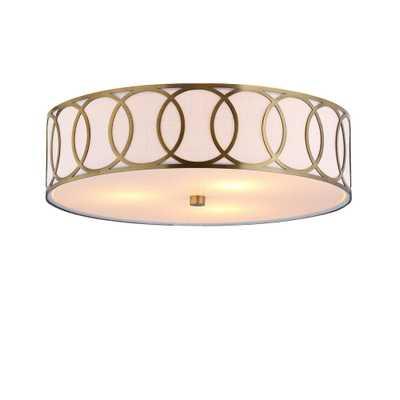 JONATHAN Y Aubrey 3-Light 15.5 in. Brass Gold Metal Flushmount - Home Depot