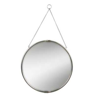 Brea Reclaimed Metal Round Silver Mirror with Hanging Chain 20 in. Dia Silver - Home Depot