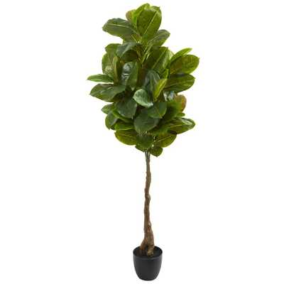 Nearly Natural 65 in. Rubber Leaf Artificial Tree (Real Touch) - Home Depot