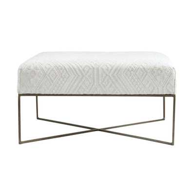 3R Studios Collected Notions Cream Woven Damask Upholstered Ottoman with Antique Brass Metal Frame, Ivory/Antique Brass - Home Depot