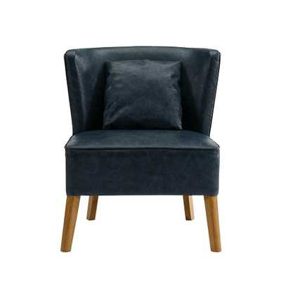 Navy Blue Accent Chair with Curved Back - Home Depot