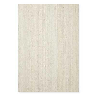 Hand Braided Jute Rug, 8' X 10', White, Serged Edge - Williams Sonoma