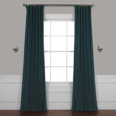 Exclusive Fabrics & Furnishings Bayberry Teal Blue Bellino Blackout Room Darkening Curtain - 50 in. W x 108 in. L - Home Depot