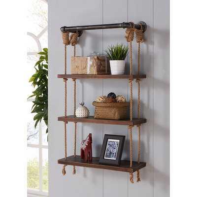 Ottawa Modern Walnut Wood Floating Wall Shelf - Wayfair