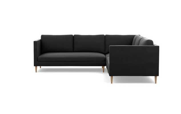 Oliver Corner Sectional with Smoke Fabric and Natural Oak legs - Interior Define
