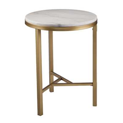 Aiden Lane Galatea Marble Side Table Champagne With Ivory Marble - Target