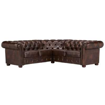 Radcliffe 3-Piece Chocolate (Brown) Bonded Leather Sectional - Home Depot